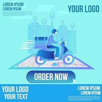 Snelle levering online app per scooter op smartphone. levering man platte cartoon