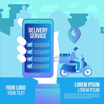 Snelle levering online app per scooter op smartphone. levering man platte vector cartoon futuristisch