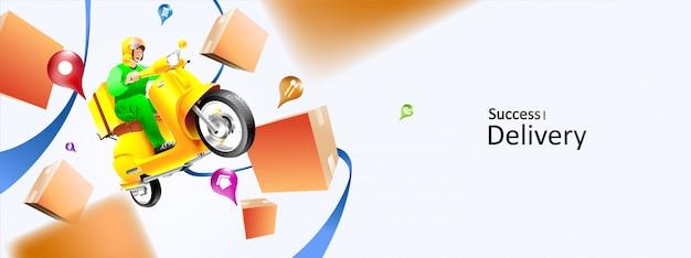 Snelle levering pakket per scooter op mobiele telefoon. bestelpakket in e-commerce per app. tracking koerier door kaart applicatie. driedimensionaal concept. vector illustratie
