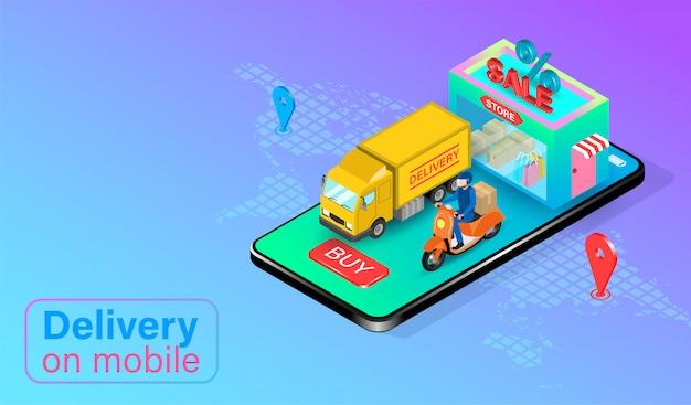 Snelle levering per scooter en vrachtwagen op mobiele telefoon. online eten bestellen en verpakken in e-commerce per app. isometrisch plat ontwerp. illustratie