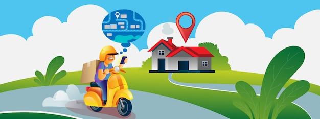 Snelle levering per scooter. koerier volgen door kaartnavigatie