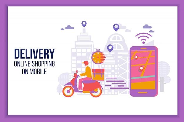 Snelle levering per scooter op mobiel. levering man platte vector cartoon karakter restaurant