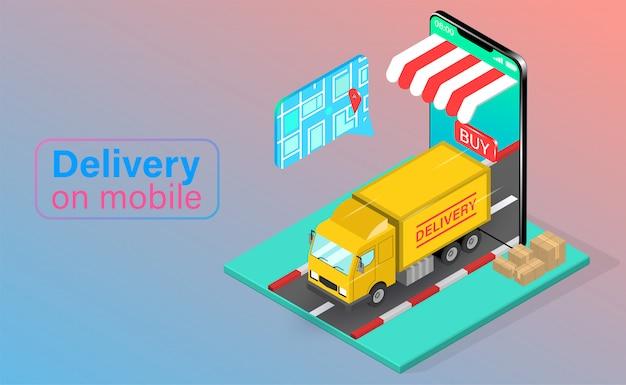 Snelle levering per vrachtwagen voorbij gsm-bestelling. online pakket in e-commerce per app. isometrisch plat ontwerp. illustratie