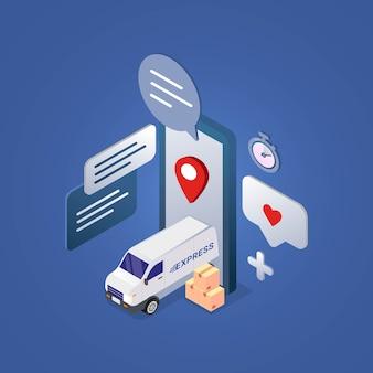 Snelle levering service ontwerpconcept voor isometrische illustratie van mobiele app