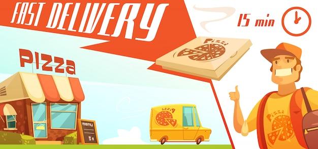 Snelle levering van pizza ontwerpconcept met pizzeria courier gele minibus