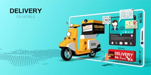 Snelle levering voor winkelen op mobiele applicatie door scooter