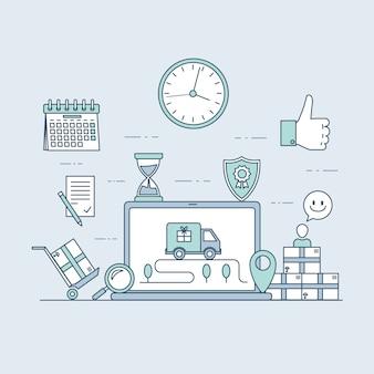 Snelle levering website of sjabloon voor mobiele applicatie. elektronische handel en online bestelconcept.