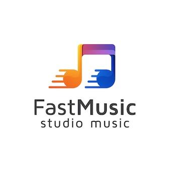 Snelle muziek logo, studio record logo vector ontwerpsjabloon