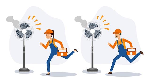 Snelle reparatie serviceconcept. reparatie elektrische huishoudapparatuur, fan.flat 2d cartoon karakter vectorillustratie.