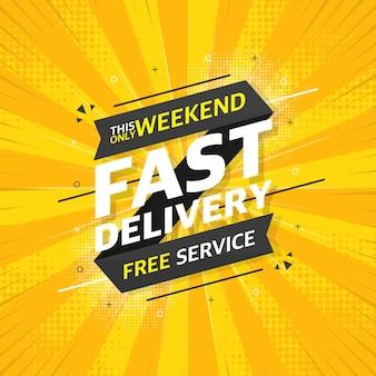 Snelle service platte banner op gele pop achtergrond. dit enige weekend gratis service. vector illustratie.