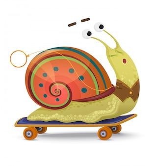 Snelle slak. leuke cartoonslak op een geïsoleerd skateboard