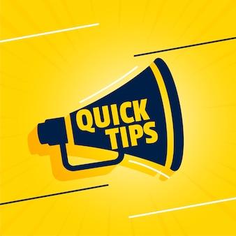 Snelle tips backgorund met megafoon