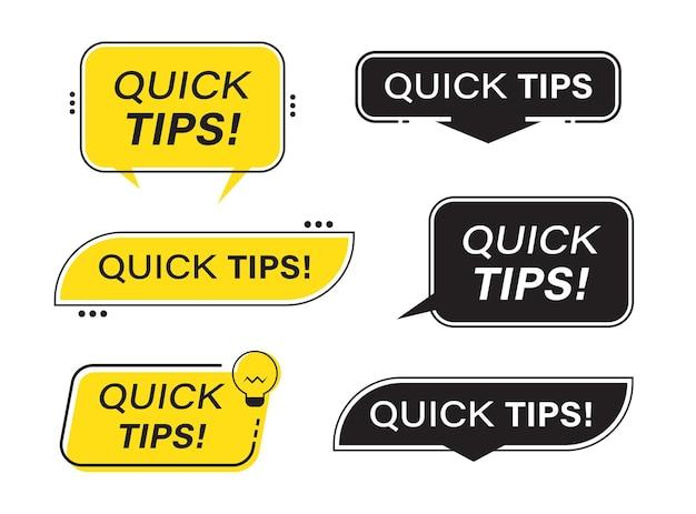 Snelle tips banner vormen collectie