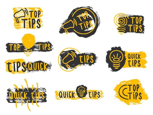 Snelle tips handige trucs doodle logo's emblemen en banners set kleurrijke tooltip hint voor website
