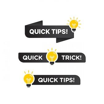 Snelle tips, handige trucs vector logo pictogram of symbool set met zwarte en gele kleur en gloeilamp element