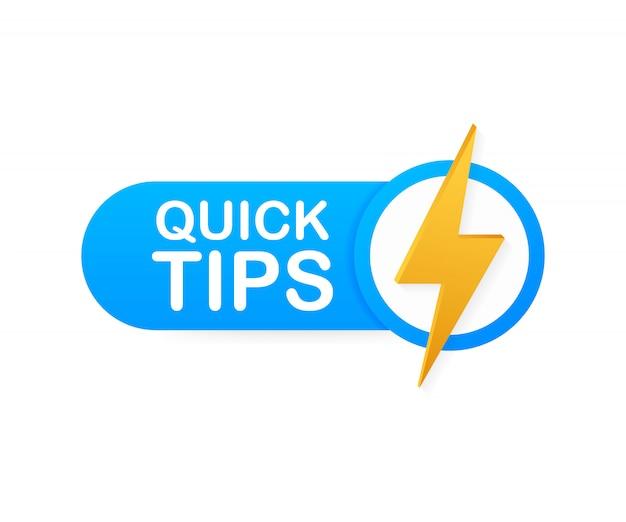 Snelle tips, hint, handige trucs, tooltip voor website. creatieve banner met nuttige informatie.