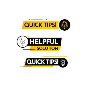 Snelle tips, hulp volledige oplossing tekst label vector sjabloonontwerp illustratie