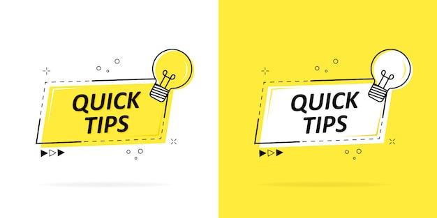 Snelle tips met een logo, badge of tekenset in zwart en geel en een gloeilamp voor webdesign.