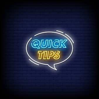 Snelle tips neon signs style text