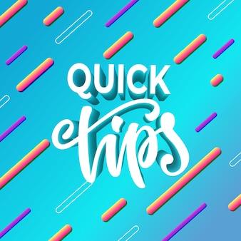Snelle tips voor bannerontwerp. vector illustratie.