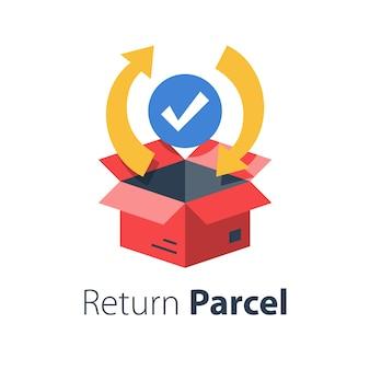 Snelle verwerking winkelbestelling, pakketverzending, tracking vrachtdoos, goederendistributiediensten, leveringsgarantie, vlakke afbeelding