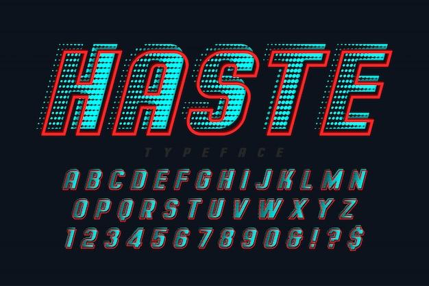 Snelle weergave lettertype ontwerp, alfabet, letters en cijfers.