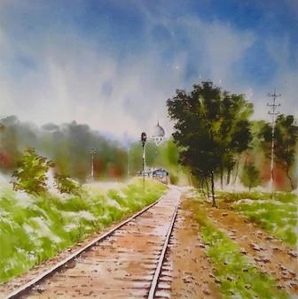Sneltrein en spoorlijn in de groene aquarel op de borst