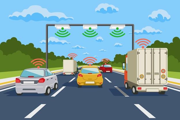 Snelweg communicatiesysteem vector infographics. wegcommunicatie, snelweg systeemcommunicatie illustratie