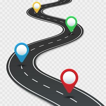 Snelweg routekaart met pinnen