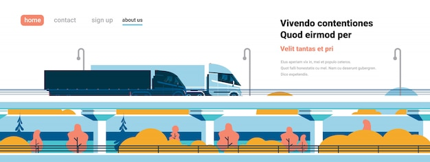 Snelweg semi vrachtwagens trailers rijden over moderne stad gebouwen banner platte kopie ruimte cabine,
