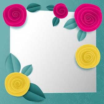 Snij papier vierkant bloemkader
