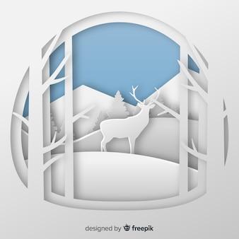 Snijd de winterachtergrond van de herten uit