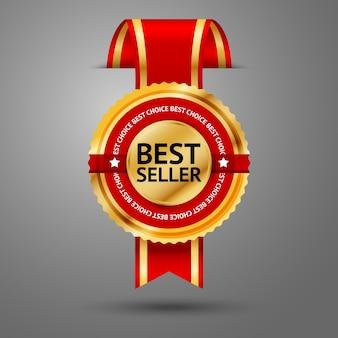 Snijd door het premium gouden en rode bestsellerlabel van de muur