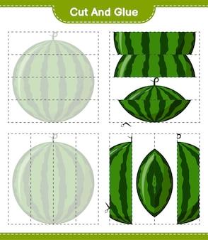 Snijd en lijm, snijd delen van watermeloen en lijm ze vast. educatief kinderspel, afdrukbaar werkblad