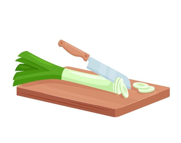 Snijd prei om te koken cartoon 3d verse groene prei gehakte plakjes liggen op een houten bord, ui snijden