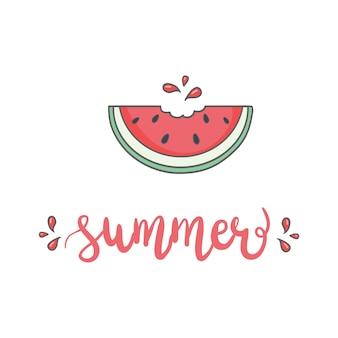 Snijd watermeloen. fruit illustratie voor menu van de boerderijmarkt. gezond eten