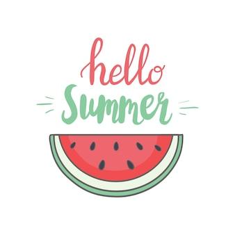 Snijd watermeloen. fruit illustratie voor menu van de boerderijmarkt. gezond voedselontwerp