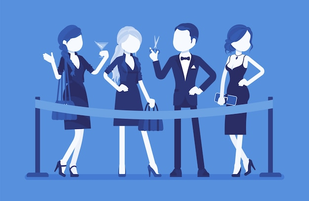Snijden rood lint ceremonie. groep van jonge elegante mensen op officiële opening evenement, nieuwe zakelijke begin, formele openbare gelegenheid, feestelijk feest start. illustratie met gezichtsloze karakters