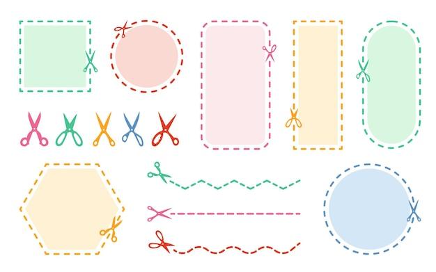 Snijden schaar gekleurde set gestippelde coupon rand korting symbool snijrand. cirkel, vierkant, rechthoekige vorm