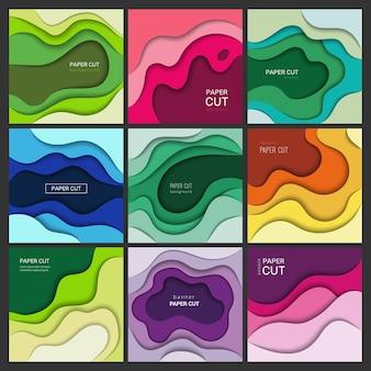 Snijden van papieren banners. origami abstracte golven met achtergronden van schaduwen kleurrijke vormen.