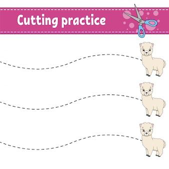 Snijoefening voor kinderen. dierlijke alpaca. onderwijs ontwikkelt werkblad.