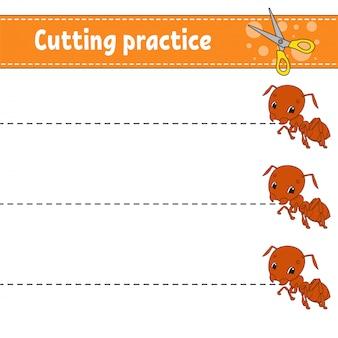Snijoefening voor kinderen. insect mier. onderwijs ontwikkelt werkblad. activiteitspagina.