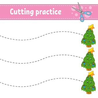 Snijoefening voor kinderen. onderwijs ontwikkelen werkblad. activiteitspagina.