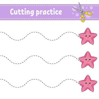 Snijoefening voor kinderen. onderwijs ontwikkelt werkblad. activiteitenpagina met afbeeldingen.