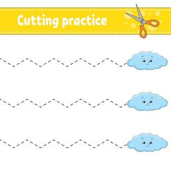 Snijoefening voor kinderen. onderwijs ontwikkelt werkblad.