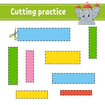 Snijoefening voor kinderen. werkblad voor het ontwikkelen van onderwijs. activiteitenpagina met afbeeldingen.