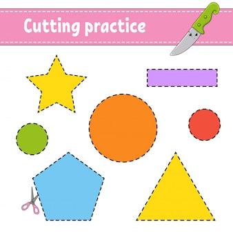Snijoefening voor kinderen. werkblad voor het ontwikkelen van onderwijs.