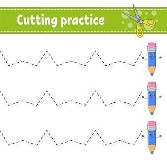 Snijoefening voor kinderen.