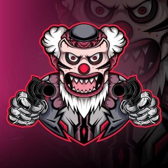 Sniper gekke clown gaming mascotte logo vector