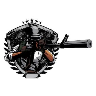 Sniper klaar om te vuren